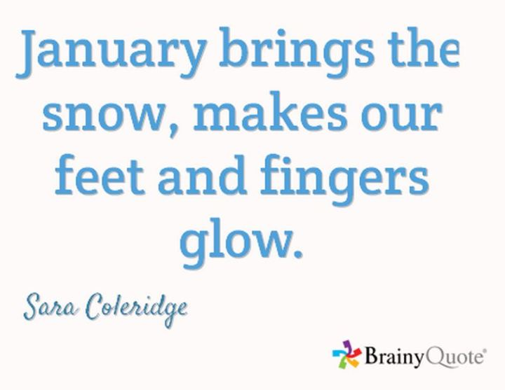 """January brings the snow, makes our feet and fingers glow."" - Sara Coleridge"