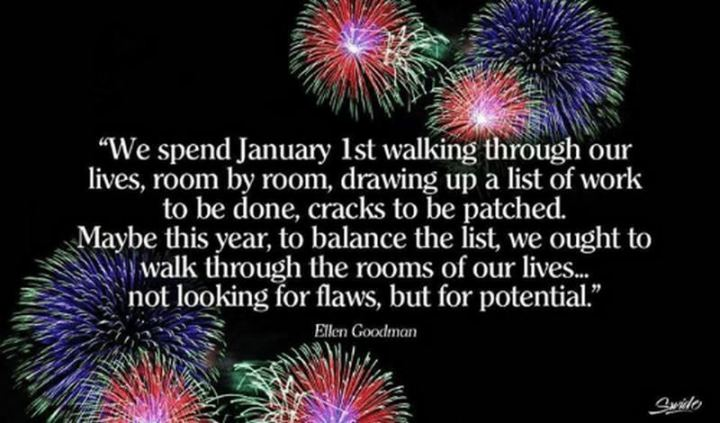 """We spend January 1st walking through our lives, room by room, drawing up a list of work to be done, cracks to be patched. Maybe this year, to balance the list, we ought to walk through the rooms of our lives...not looking for flaws, but for potential."" - Ellen Goodman"