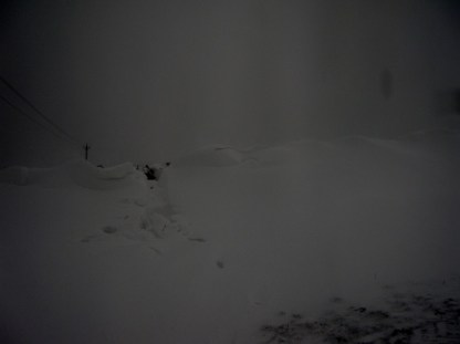 Not so bad on the way down, but the drifts beat me on the way back; I decided to take the road