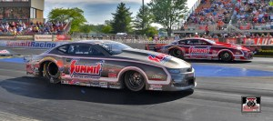 Jason Line and Greg Anderson in their Summit Racing Chevrolet Camaro Pro Stock cars