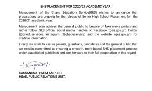 SHS School Placement: GES gives a new update on the online release