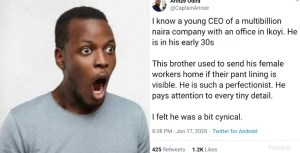 A Twitter user, Arinze Odira, took to his handle to share something he knows about the CEO of a Lagos-based multi-billion