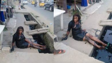 Photo of Lady Falls From Her High Heels Shoes And Lands Inside A Gutter