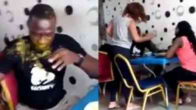 Photo of A Lady slaps Her husband & pours soup on him for going out with side chick (Watch Video)