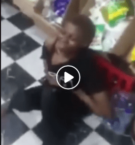 Lady caught stealing in a shop she previously stole from in Warri.  An unidentified lady was allegedly caught stealing from a shop, a day after she stole