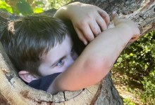 Photo of 4 Years Old Boy gots stuck inside tree during first trip to the park since lockdown