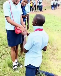 SS3 Student proposes to his Girlfriend after their WAEC exams (Watch Video).   A trending video has shown moment an SS3 student who just finished writing WAEC