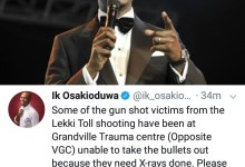 Photo of IK Osakioduwa reveals some gunshot victims of the Lekki toll gate shooting are unable to receive treatment due to lack of X-ray machine