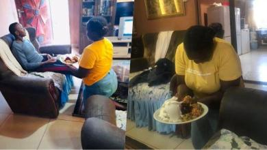 """Modern wives will never do this"" – Man gives kudos to wife for kneeling while serving him food"