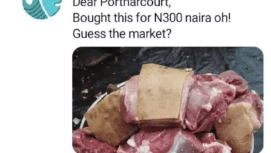 'Abeg Which Market' – Reactions As A Man Reveals The Meat He Bought For ₦300 Only In Portharcourt (Photos)