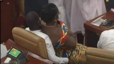 Married Ghanaian politician, Mrs. Ursula Owusu-Ekuful is seen comfortably sitting on another man