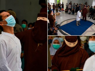 Two gay men are caned 77 times each in Indonesia after they were caught having s3x (Photos/Video)
