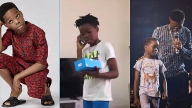 Boluwatife shows off new smartphone his dad, Wizkid, gifted him (Video)