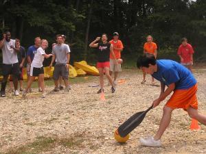 Winnamocka counselors-in-training play ball.