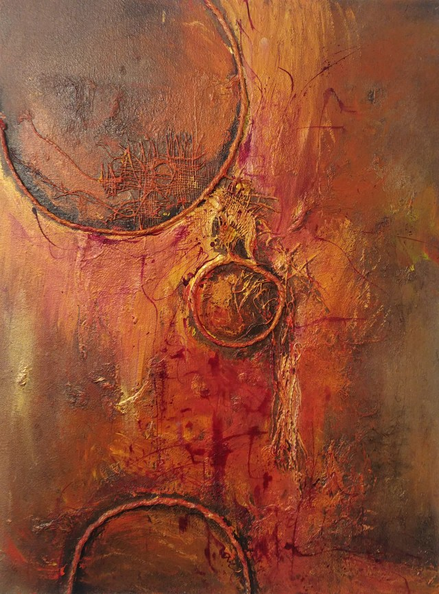 Diffrent orbits.. mixed media on canvas. Yvonne Krystman