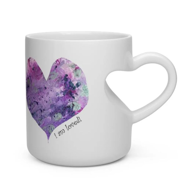 Art heart mug: I am loved by Y. Krystman