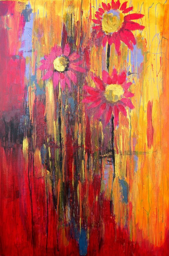 Blooming mixed media on gallery canvas 30x40 Yvonne Krystman