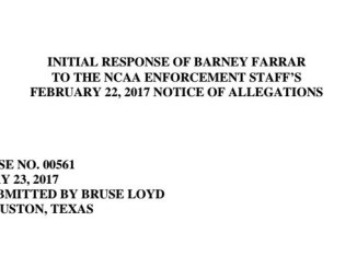 Farrar response to NCAA's NOA to Ole Miss