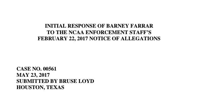 Farrar response to NCAA's NOA to Ole Miss