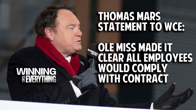 Thomas Mars: Ole Miss made it clear all employees would comply with contract