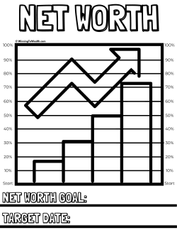 Track your net worth progress with this printable coloring chart! As you hit net worth milestones, color in the corresponding line until you've reached 100% of your net worth goal. It's that simple!