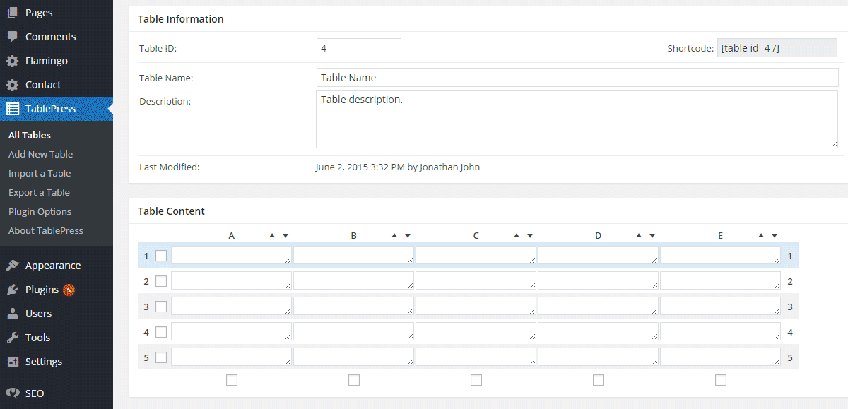 TablePress Input2