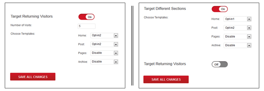 screenshot showing the page specific targeting features of the plugin