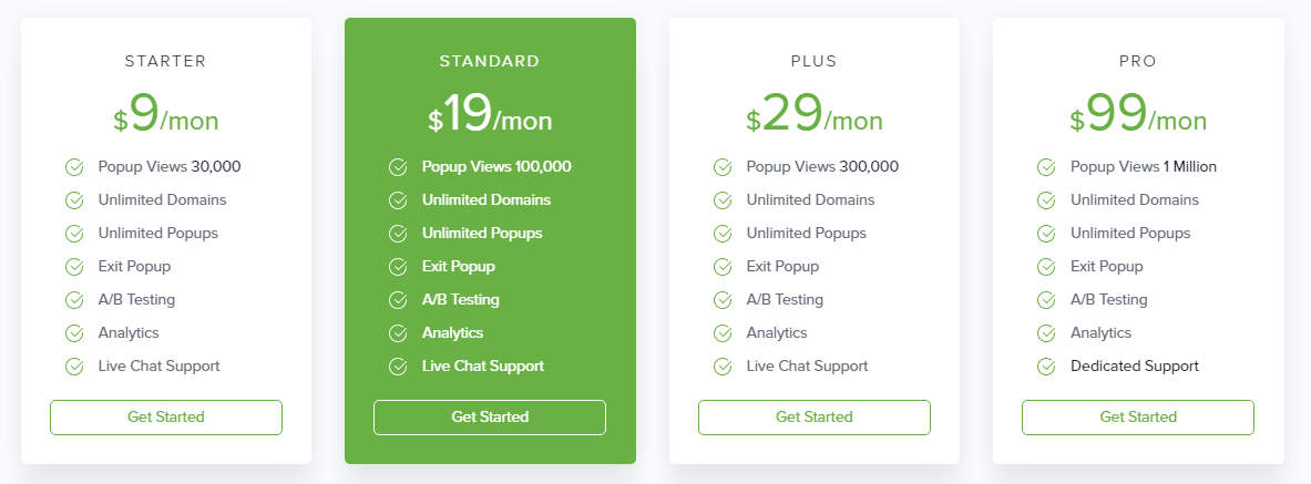 screenshot of pricing of popup domination as on 22nd September 2016