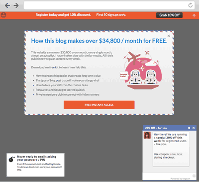 screenshot depicting the various popups in icegram