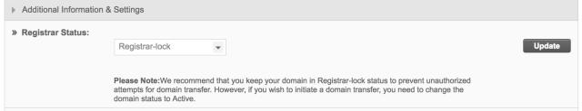 SiteGround registrar lock