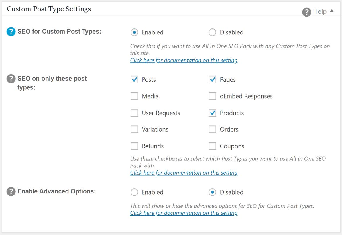 Custom Post Type Settings