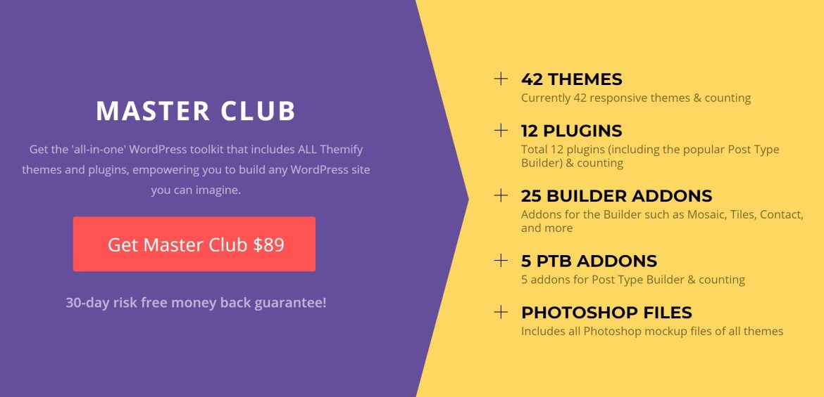 Themify Master Club pricing