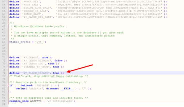 How to enable the WordPress database repair tool