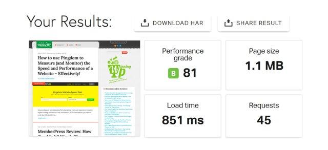 Pingdom results summary box