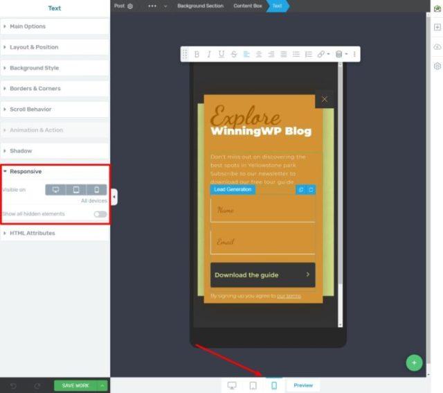 Thrive Leads responsive design settings