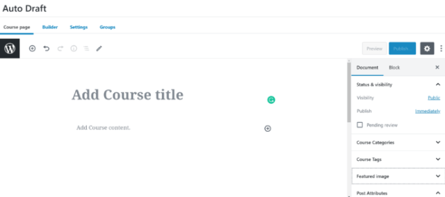 LearnDash vs WP Courseware: LearnDash Course Editor 1