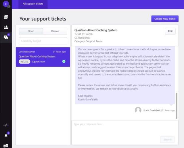 Pressidium support ticket interface