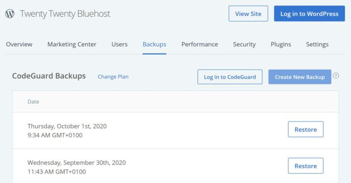 Bluehost CodeGuard Backup Tool
