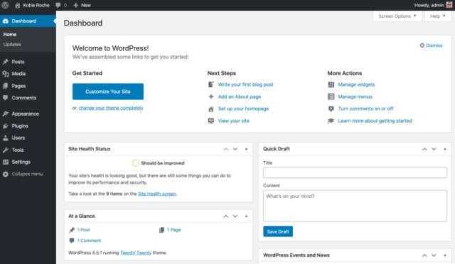 Wix vs WordPress: WordPress dashboard
