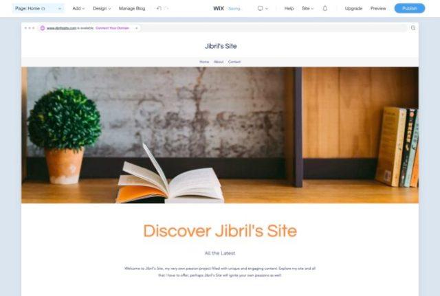 Wix vs WordPress: Wix site demo