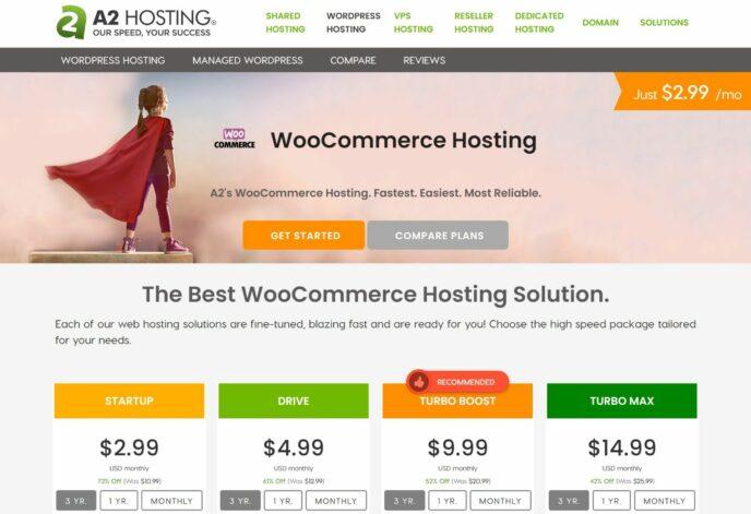 A2 Hosting's WooCommerce plans