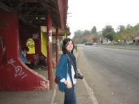 Patri at the bus stop