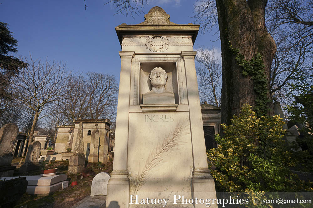 "Paris, Photographies de Paris, Cemetery, Graveyard, Cementerio, Cimitero, Friedhof , Cimetiere du Pere Lachaise , Photographies, Tombe de INGRES Jean-Auguste-Dominique ""©Hatuey Photographies"""