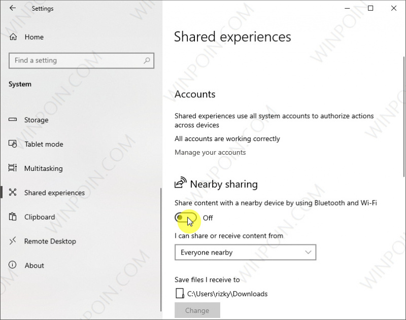 Mematikan Nearby Sharing di Windows 10