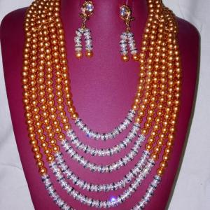 6 Tier Coral Bead Jewelry With Silver Findings
