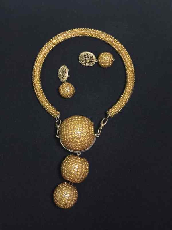 Unique Gold Beaded Neckpiece