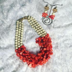 Exquisite Coral and White Beaded Neckpiece