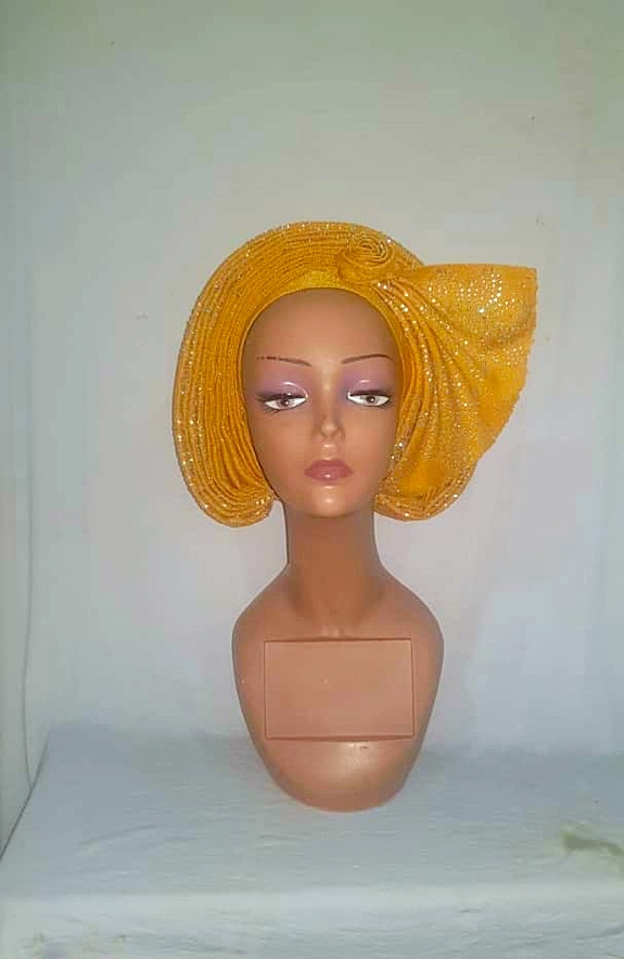 Gold Aso Oke Stone AutoGele - Ready To Wear Gele