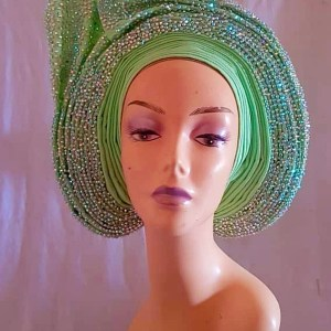 Lemon Aso Oke Stone AutoGele - Ready To Wear Gele