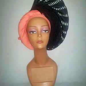 Peach and Black Aso Oke Side Fan AutoGele - Ready To Wear Gele